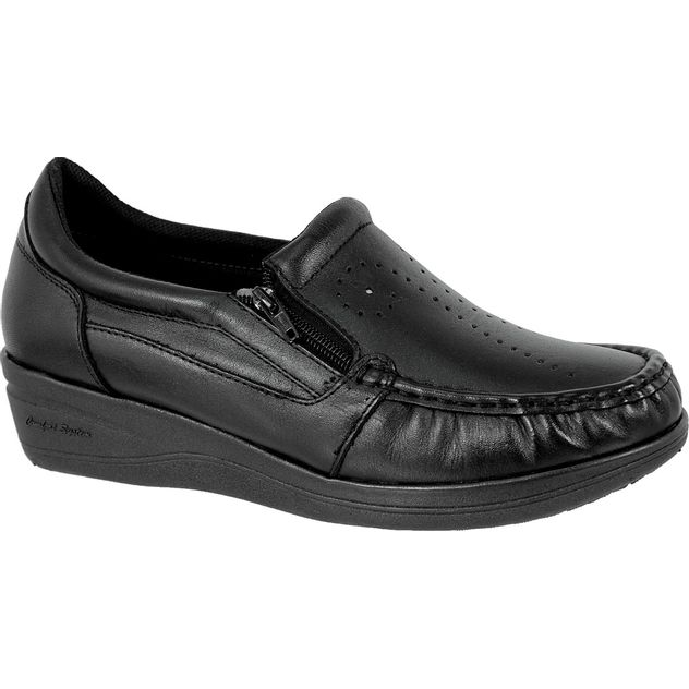 7e4c8b736a Mocassim Feminino 200 em Couro Preto Doctor Shoes - Doctor Shoes