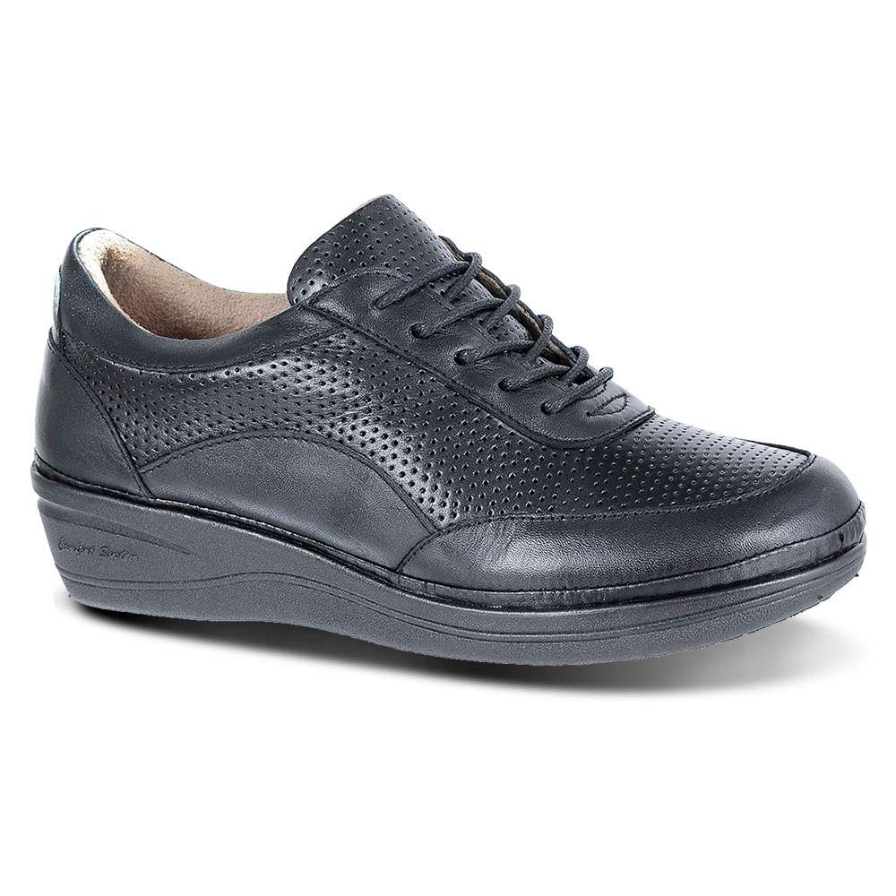 aa73c62211 Sapato Feminino Anabela 290 em Couro Preto Donna Comfort - Doctor Shoes