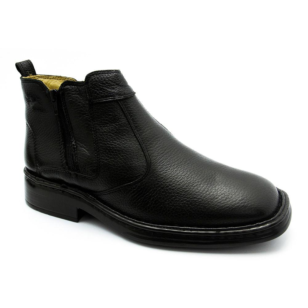 Botina Masculina 1001 em Couro Floater Preto Doctor Shoes - Doctor Shoes 60aa776eab18e