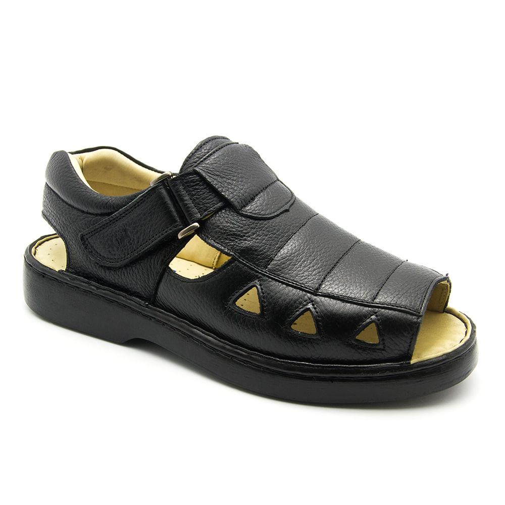 0dd20c120 Sandália Masculina 303 em Couro Floater Preto Doctor Shoes. Ref.:  199-303Pto. Vídeo. 303-pto--3-