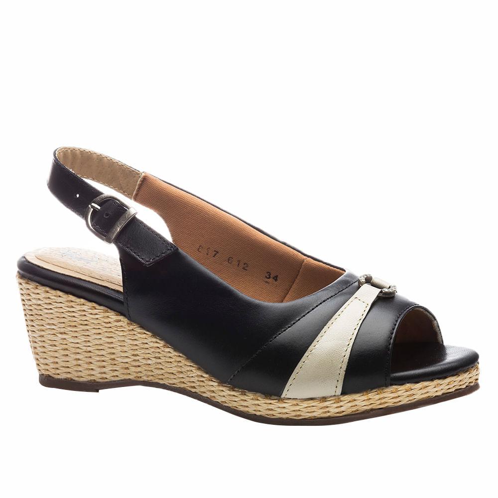 5e8d7af3a Sandália Feminina Anabela 612 em Couro Preta/Ice Doctor Shoes ...