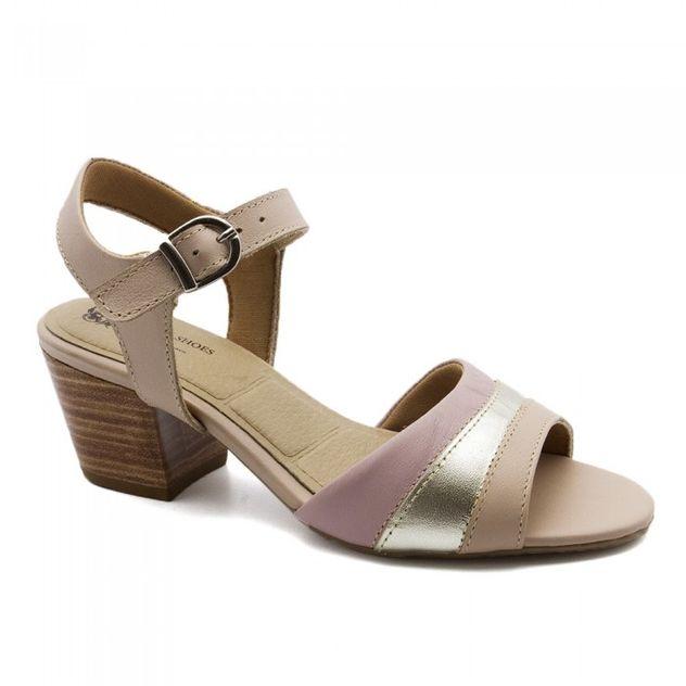 92b0cdaa9 Sandália Feminina 280 em Couro Baunilha/Metalizado Champagne/Rosa2 Doctor  Shoes - Doctor Shoes