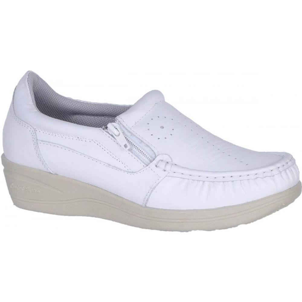 41576cb42c Mocassim Feminino 200 em Couro Branco Doctor Shoes - Doctor Shoes