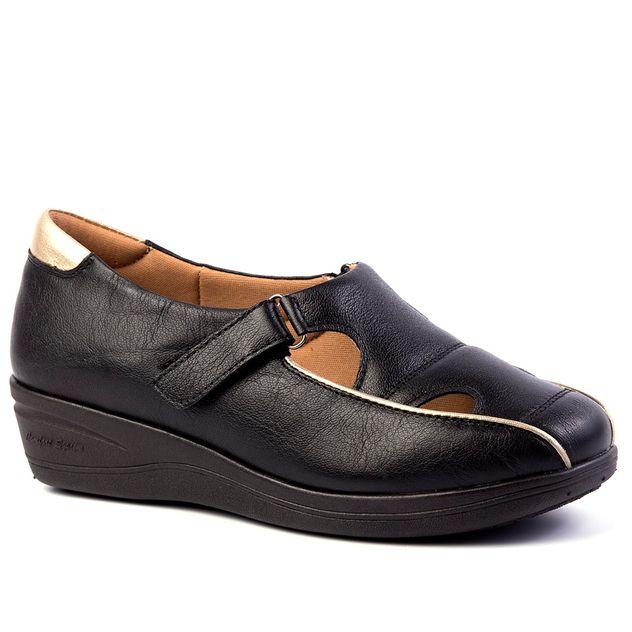 759f6f00c1 Sapato Feminino Anabela 185 em Couro Preto Glacê Doctor Shoes - Doctor Shoes
