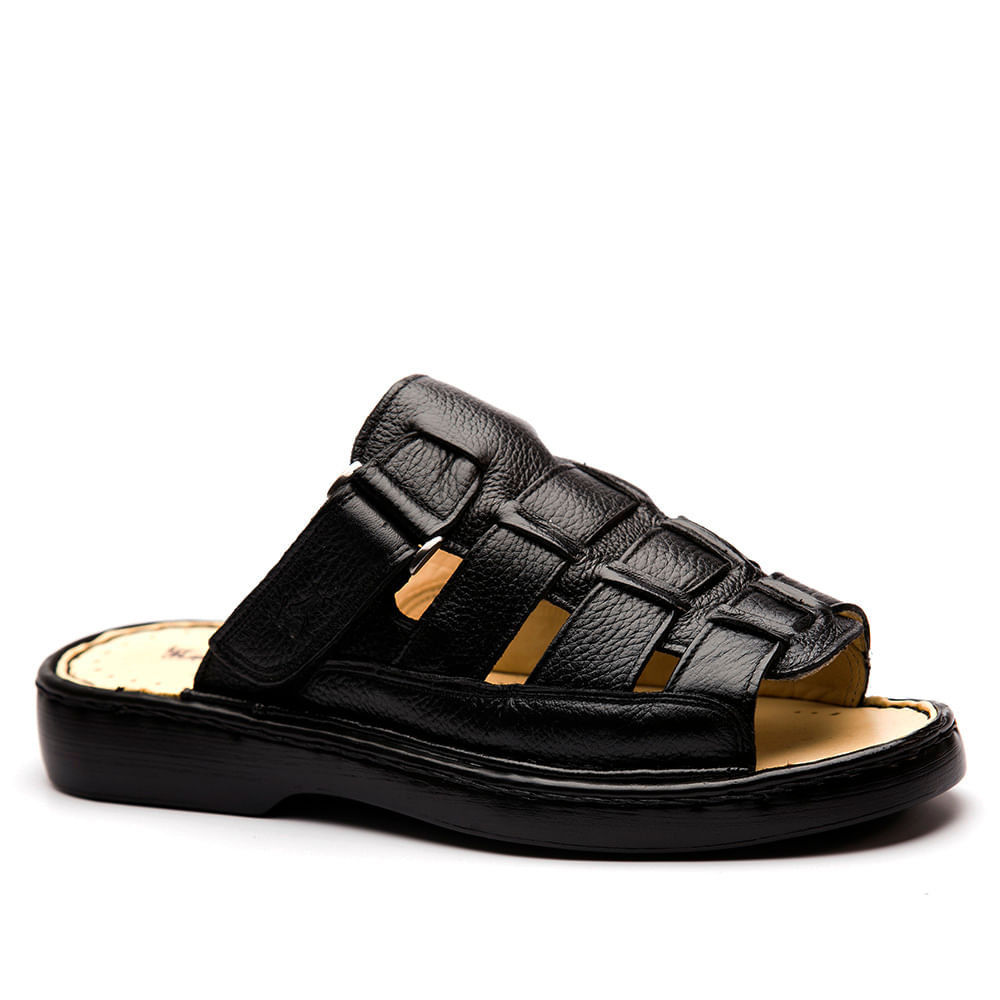 a6390788cf Chinelo Masculino 323 em Couro Floater Preto Doctor Shoes - Doctor Shoes