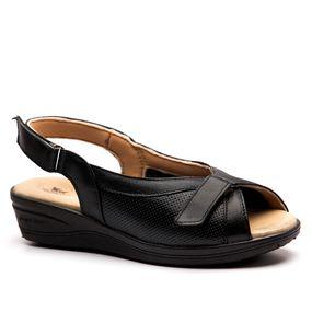 bc1af912d3 Sandália Anabela Esporão 196 em Couro Preto Techprene Preto Doctor Shoes