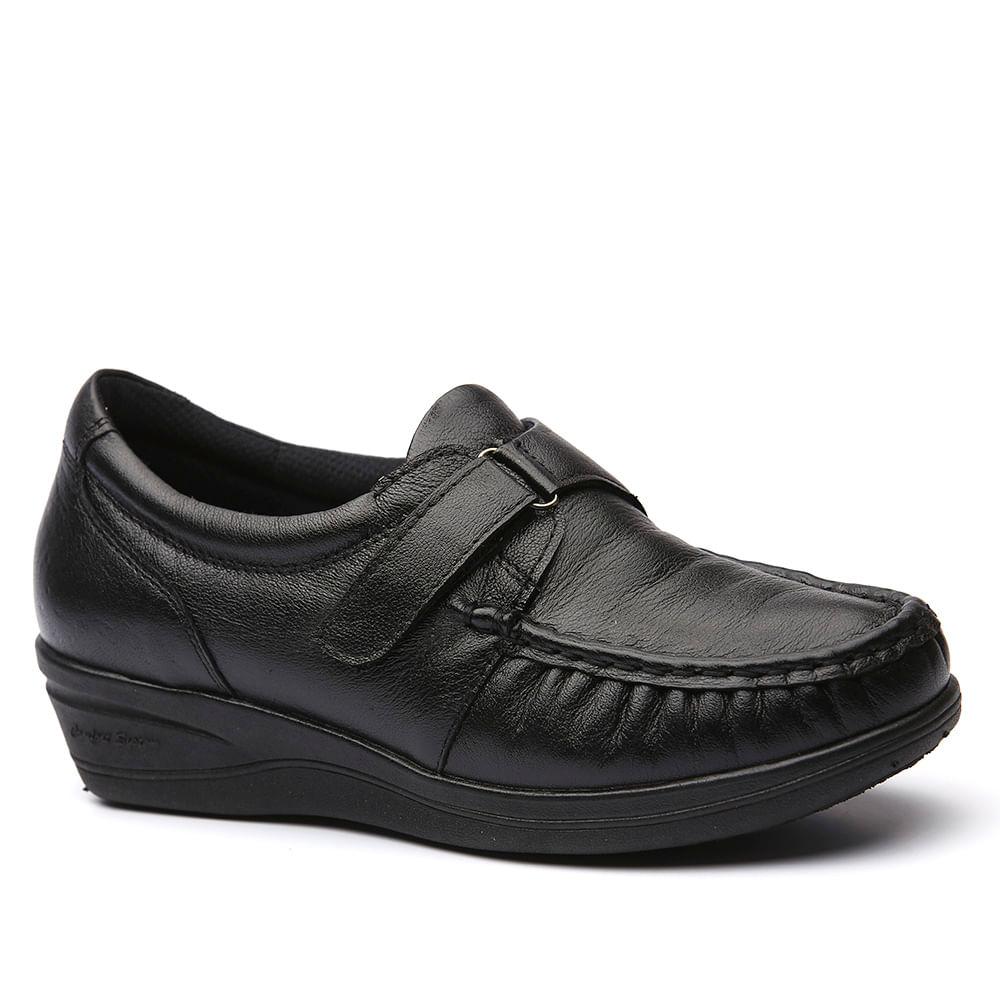 fbc7d69ecf Sapato Feminino Anabela 183 em Couro Preto Doctor Shoes. Ref.  183-PTO. 4