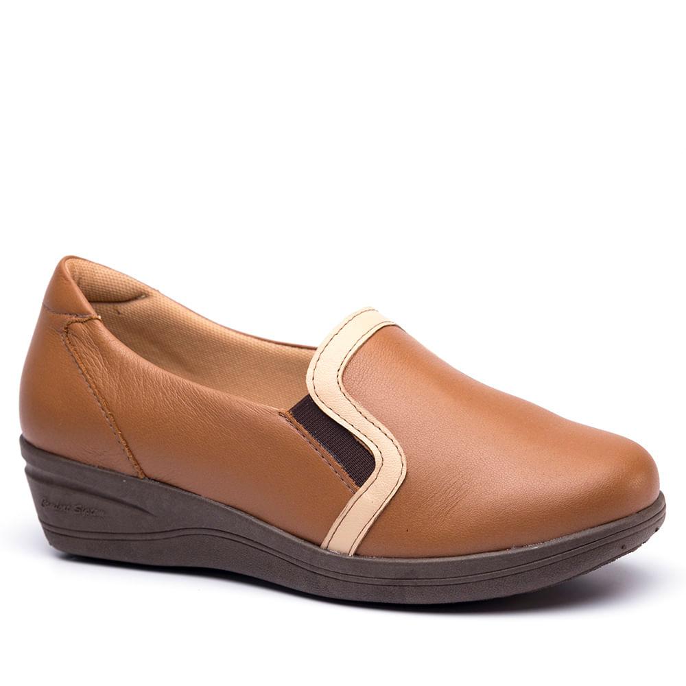 d16da6892e Sapato Feminino Anabela 190 em Couro Caramelo Porcelana Doctor Shoes ...
