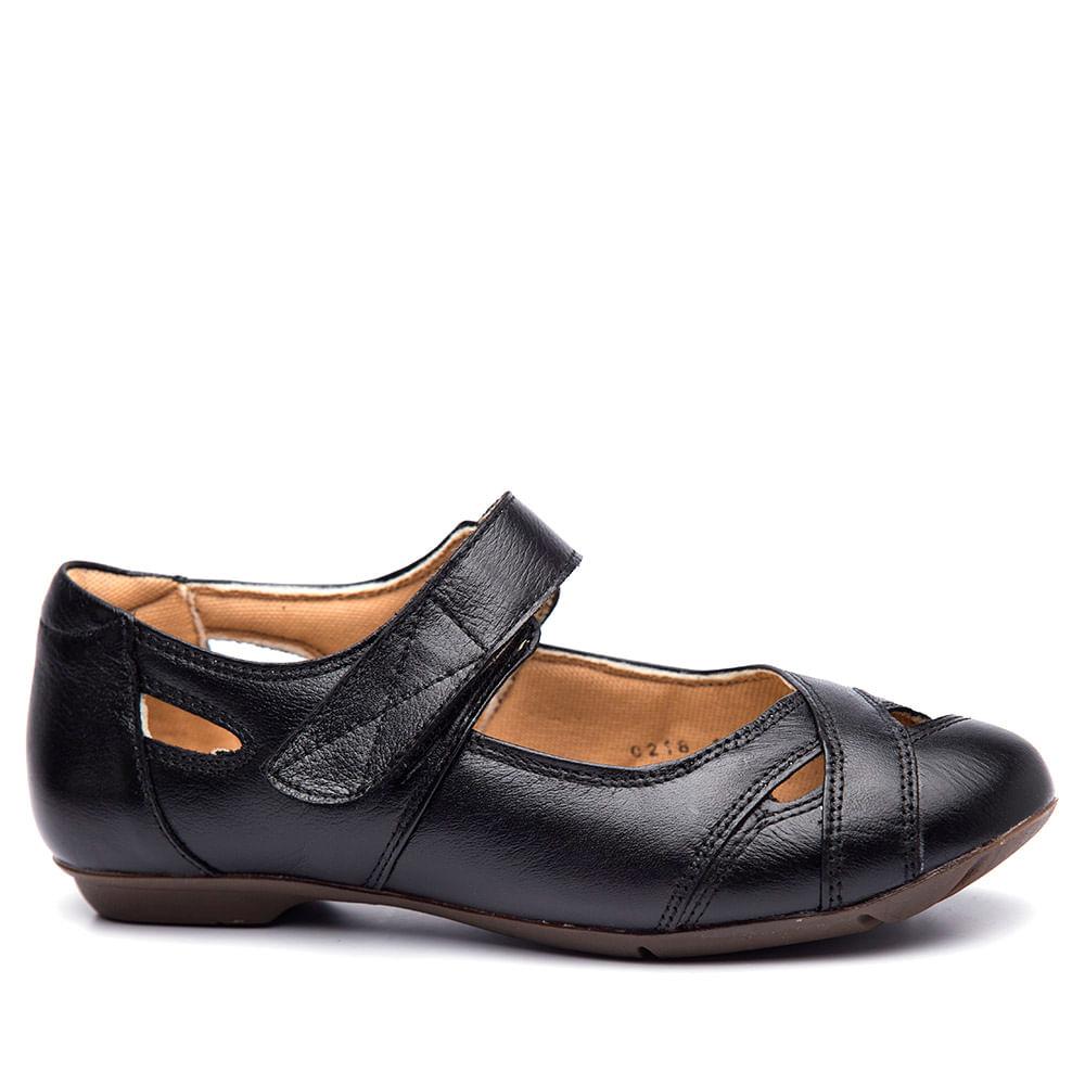 ebd4042660 Sapatilha Feminina 1298 em Couro Preto Doctor Shoes - Doctor Shoes
