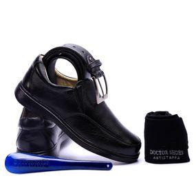 3b5f37a2b Kit Masculino Sapato 412 Preto+Cinto+Meia+Calçadeira Doctor Shoes