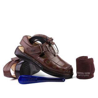 7b6b9be5b0999 kit Masculino Sandália 302 em Couro Floater Café Doctor Shoes