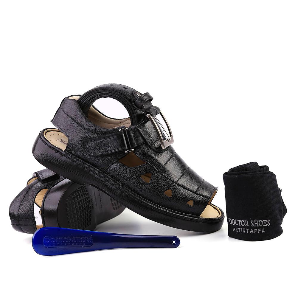 c5b88730b Kit Masculino Sandália 303 em Couro Floater Preto Doctor Shoes. Ref.: KIT- 303-PTO. kit-303-p