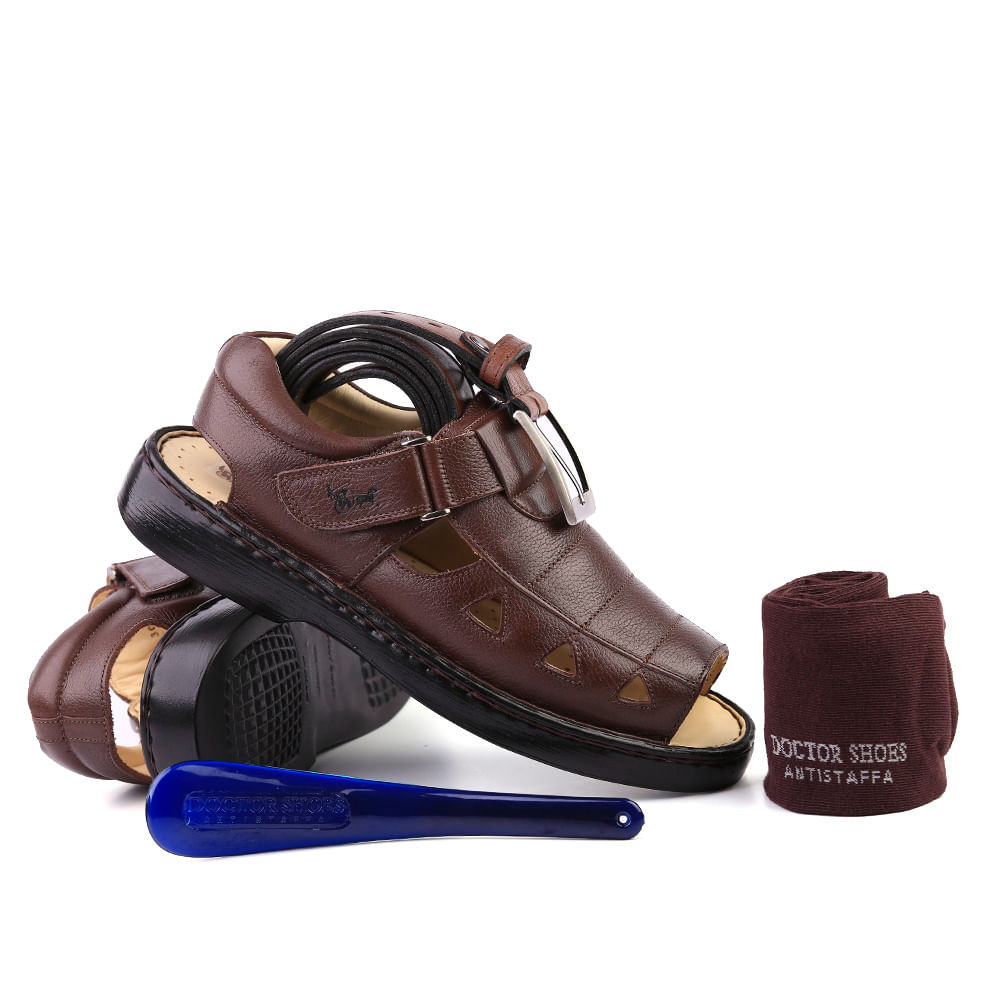add448a7b Kit Masculino Sandália 303 em Couro Floater Café Doctor Shoes ...