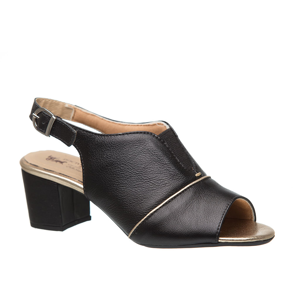 df59bcde5 Sandália Feminina 285 em Couro Preta Metalizado Glacê Doctor Shoes ...