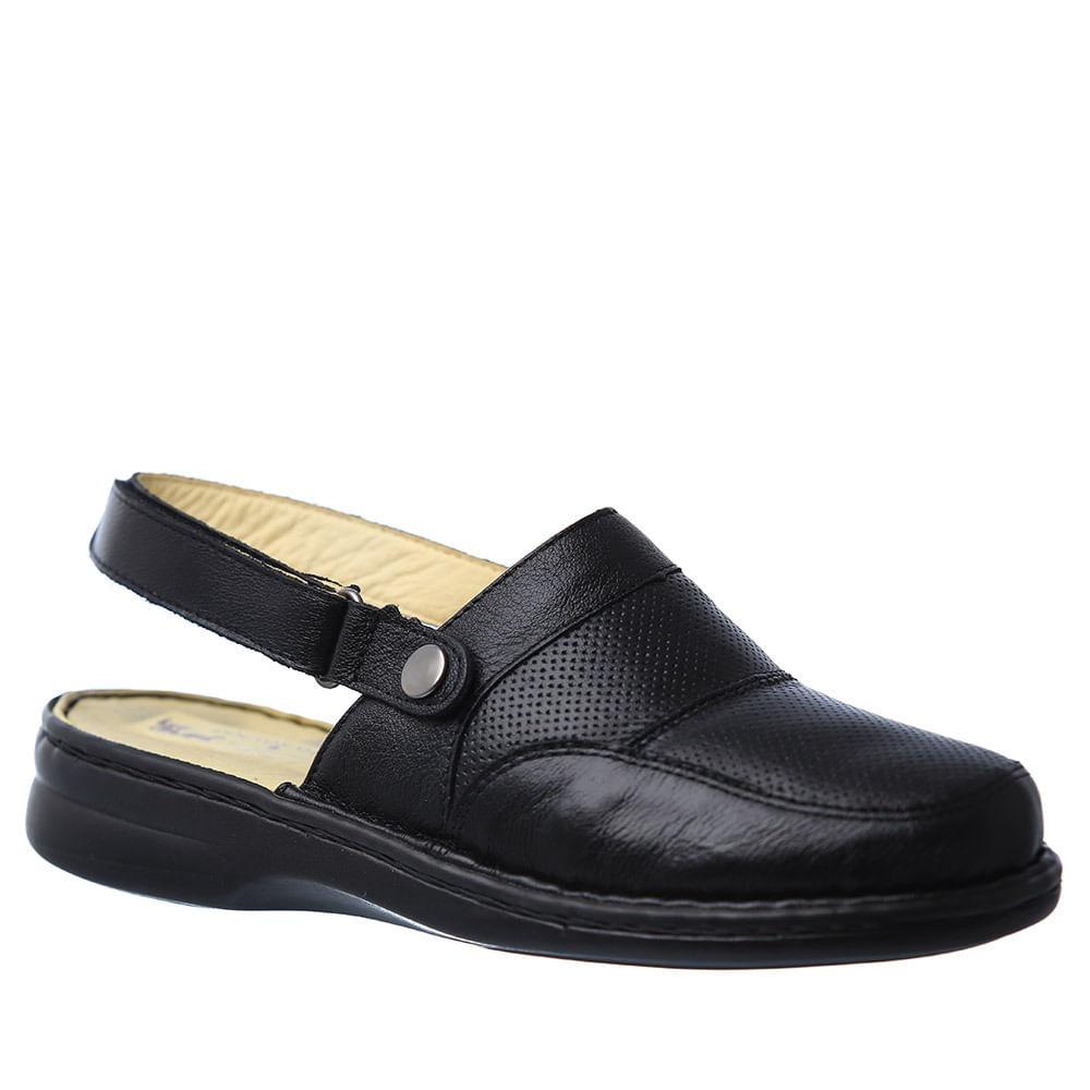 68f5bcf792 Babuche Feminina com Alça Reversível 371 em Couro Preta Doctor Shoes ...