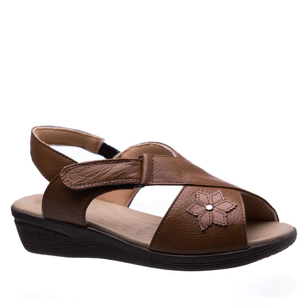 40bc6e9d5 Sandália Feminina Esporão 7998 em Couro Caramelo Doctor Shoes ...