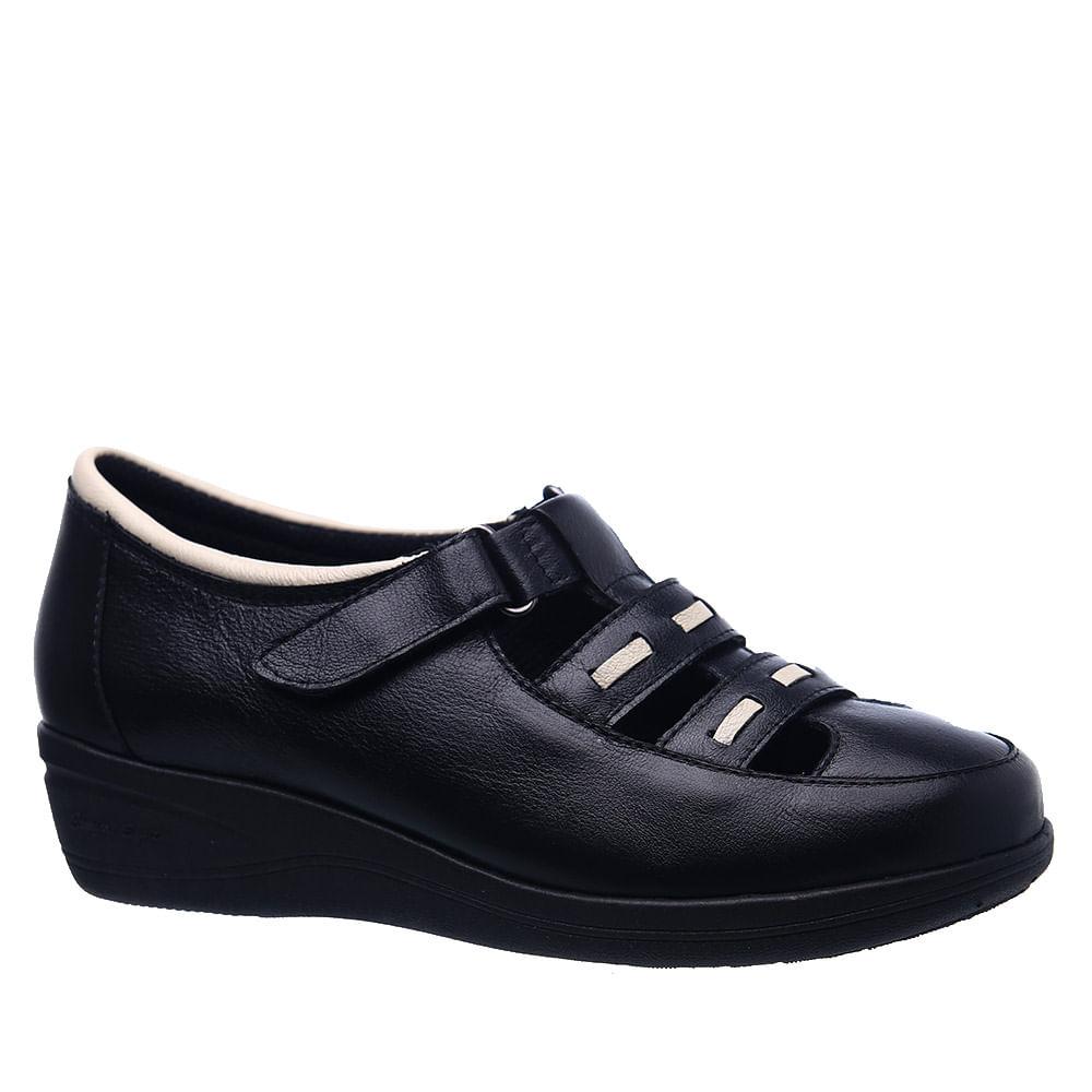 5268a4b340 Sapato Feminino Anabela 188 em Couro Preto Neve Doctor Shoes ...