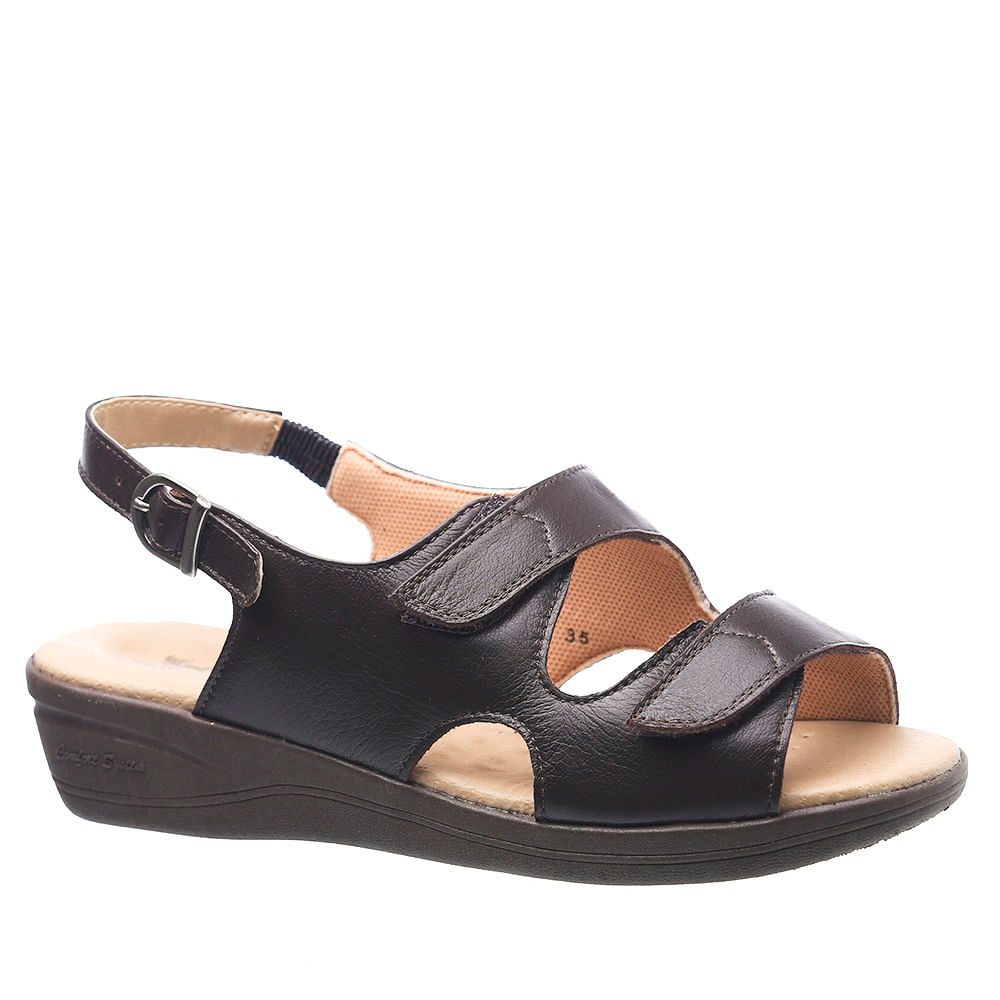 e750cc407 Sandália Feminina Esporão 7999 em Couro Café Doctor Shoes - Doctor Shoes