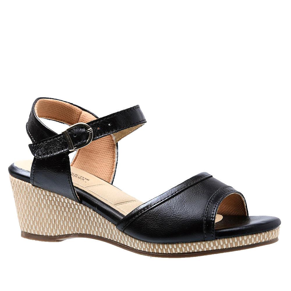 46f1c8645 Sandália Feminina Anabela em Couro Liso Preto 610 Doctor Shoes - Doctor  Shoes