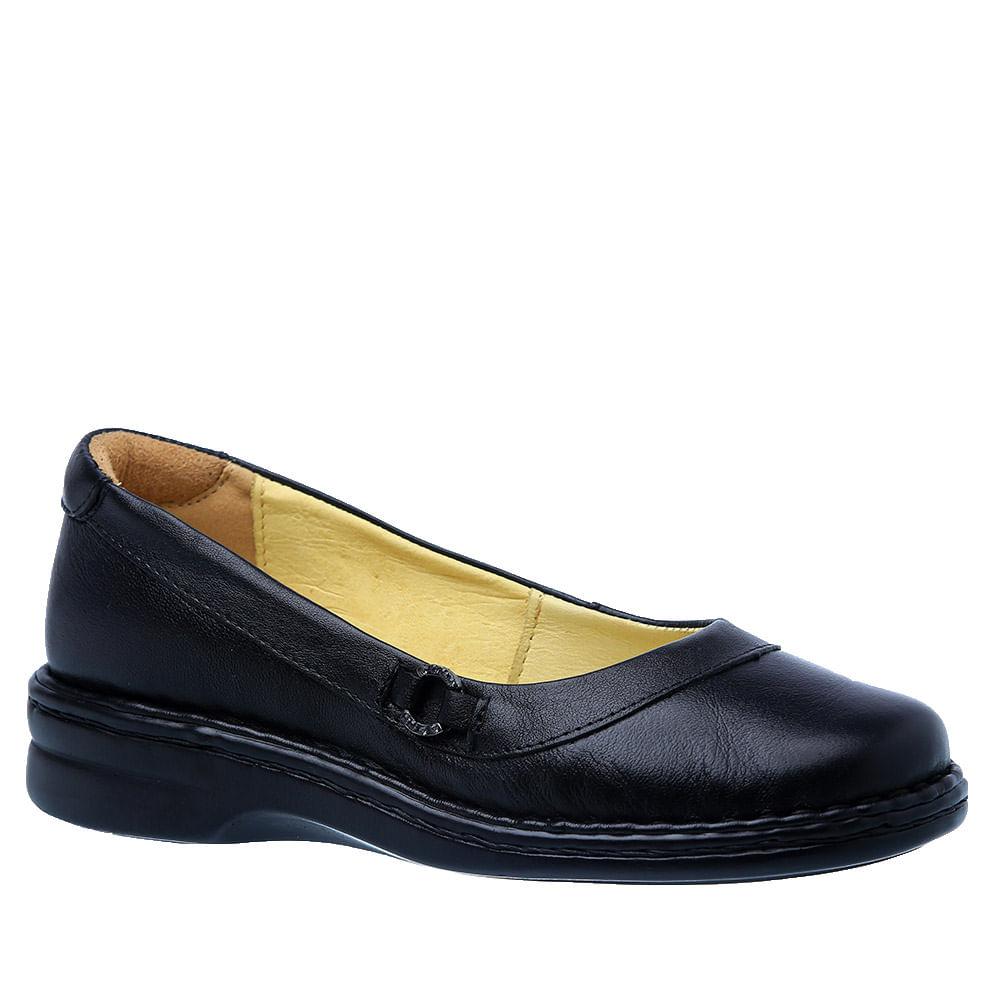 294c14861 Sapatilha Feminina em Couro Preta 221M Doctor Shoes - Doctor Shoes