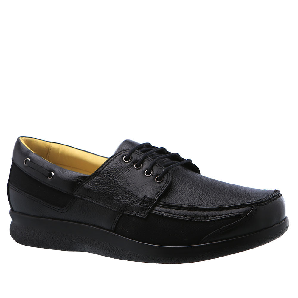 c81cd03bf Sapato Masculino Diabético em Couro Preto Floater 3057 Doctor Shoes -  Doctor Shoes