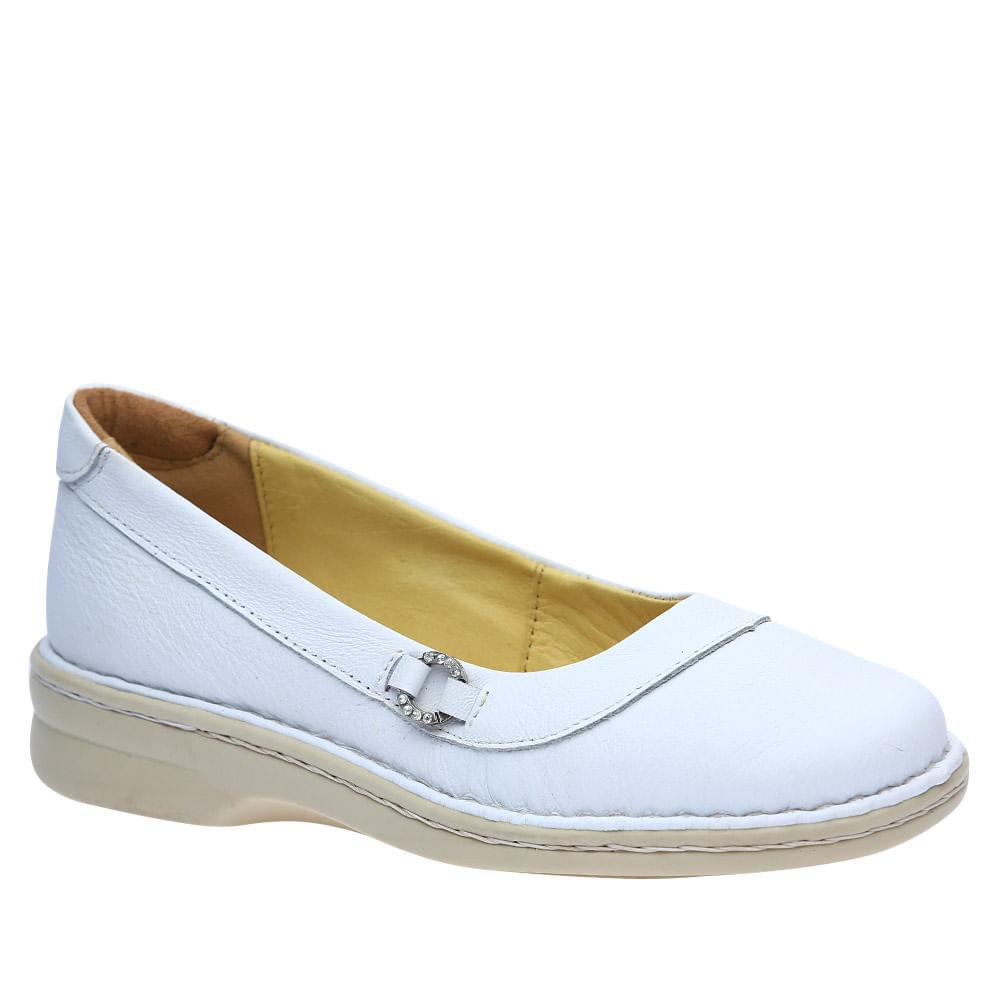49e48aef6d Sapatilha Feminina em Couro Branco 221M Doctor Shoes. Ref.: 221-BRANCO. 3