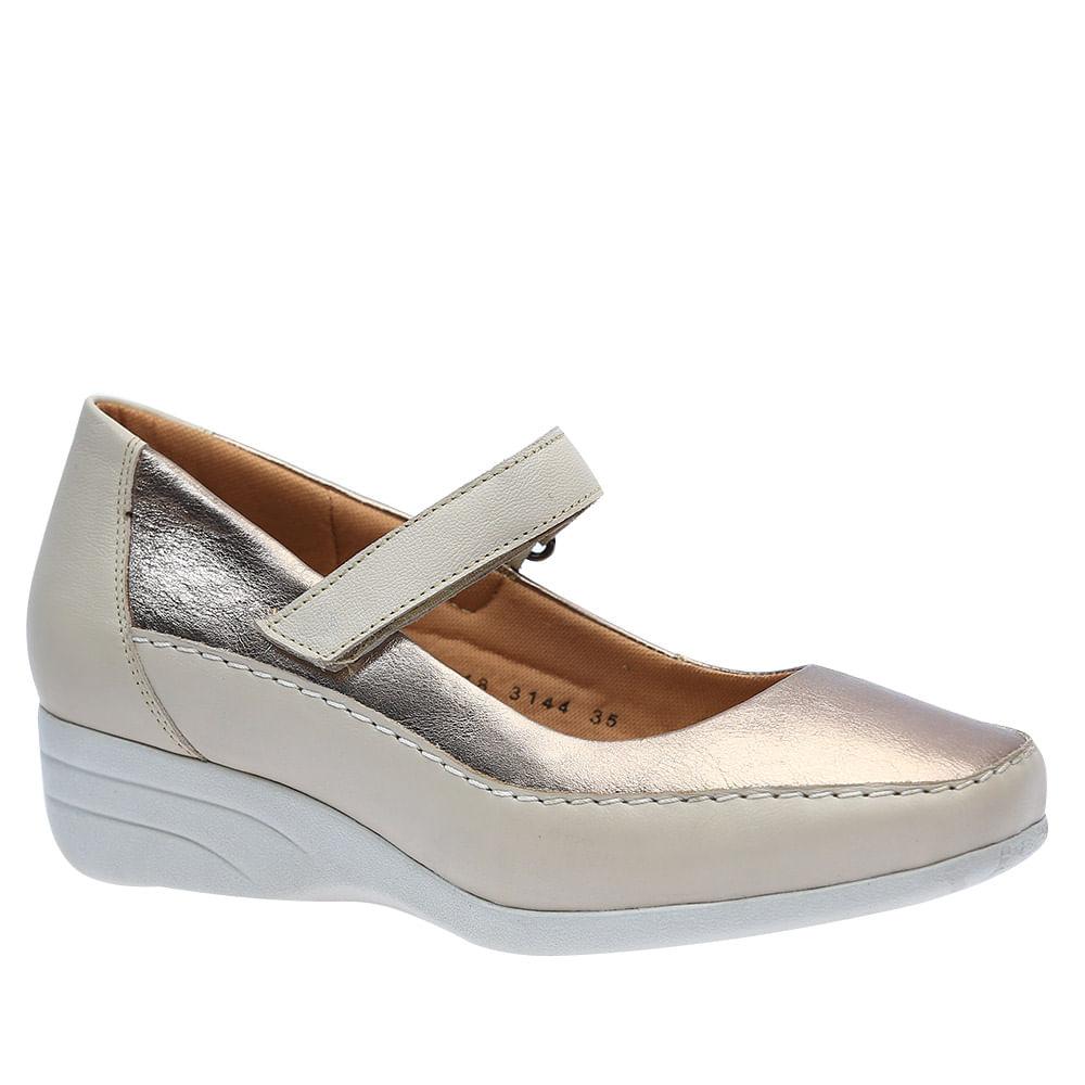 02c821d387 Sapato Feminino Anabela em Couro Neve/Metalic 3144 Doctor Shoes - Doctor  Shoes