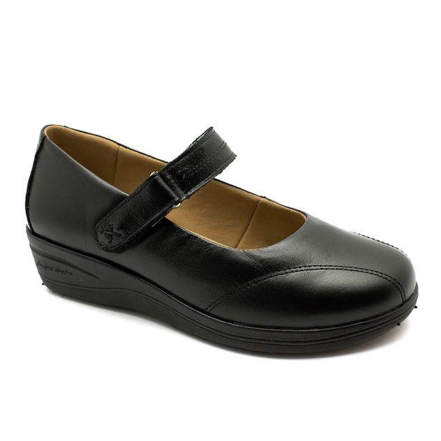 a88d59fe79 Sapato Feminino Anabela 192 em Couro Preto Doctor Shoes - Doctor Shoes