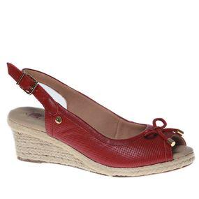 635d13fcaa Sandália Feminina Anabela em Couro Carmim 660 Doctor Shoes