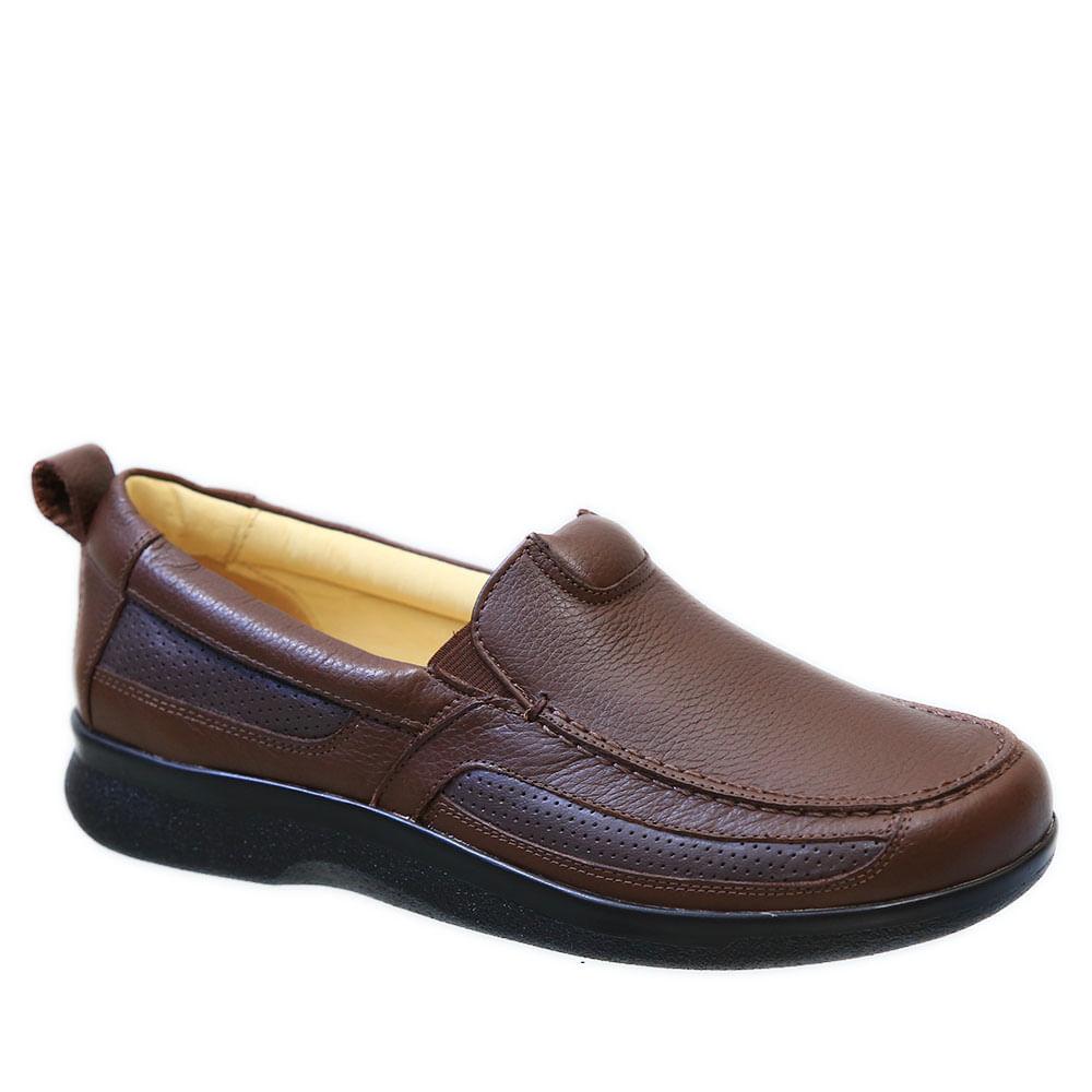 57d6b156feab4 Sapato Masculino Neuroma de Morton em Couro Café Floater 3055 Doctor Shoes  - Doctor Shoes