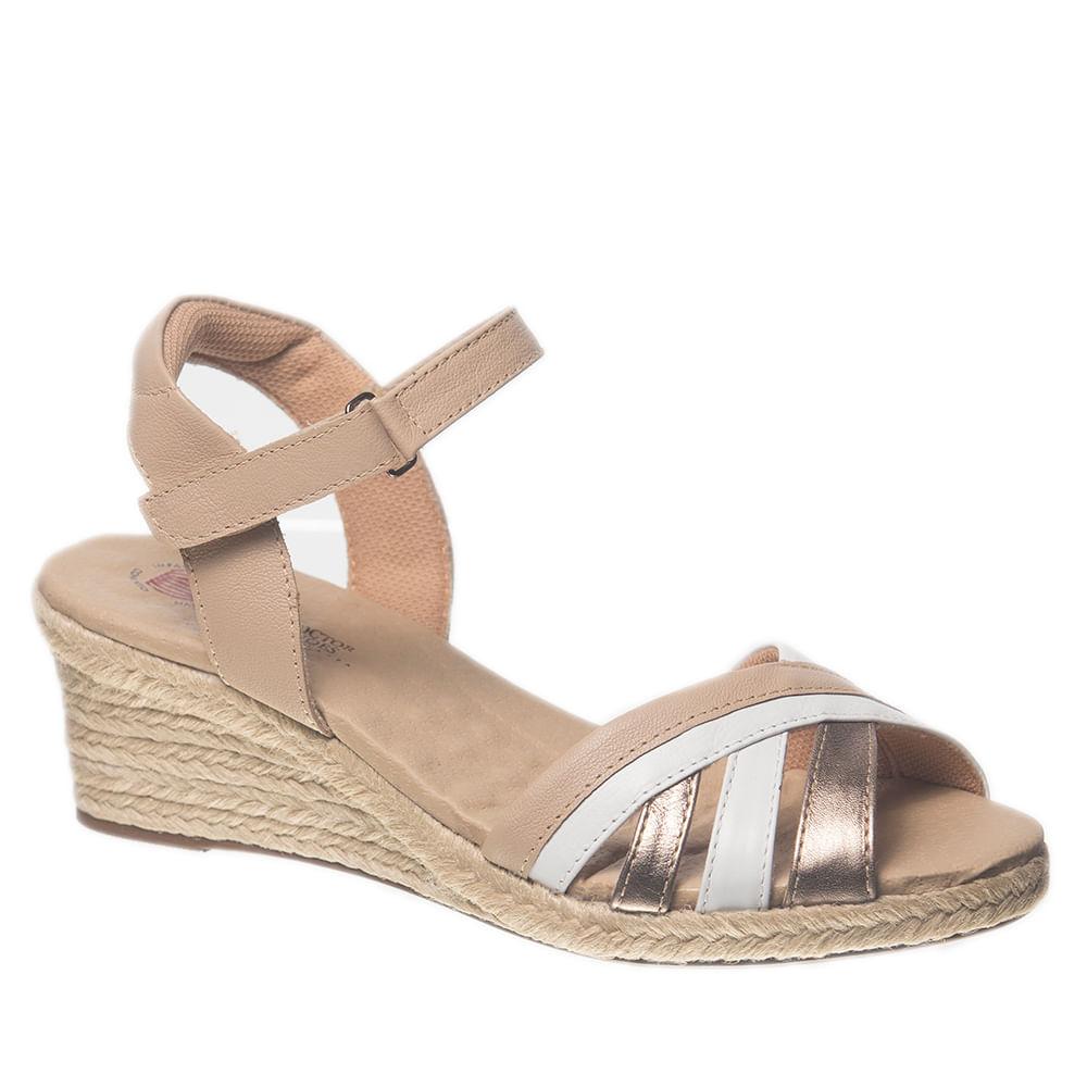 30f88f456 Sandália Feminina Anabela em Couro Branco/Metalic/Ostra 664 Doctor Shoes - Doctor  Shoes