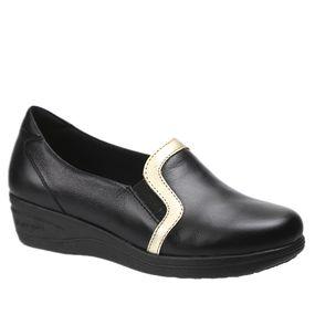 580b9a969 Sapato Feminino Anabela em Couro Preto/Glacê 190 Doctor Shoes