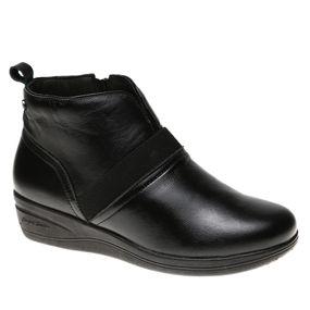 f364da3628910 Bota Feminina em Couro Roma Preto/Elastico Preto 164 Doctor Shoes