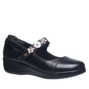 Sapato-Feminino-Diabetico-em-Couro-Preto-com-Flor-Metalic--Neve-7993-Doctor-Shoes-Preto-35