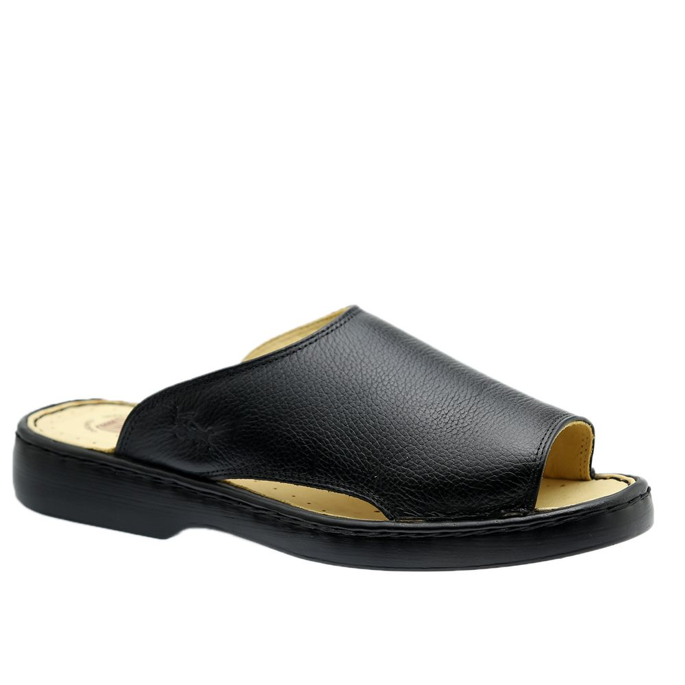 Chinelo-Masculino-em-Couro-Floater-Preto-305-Doctor-Shoes-Preto-41