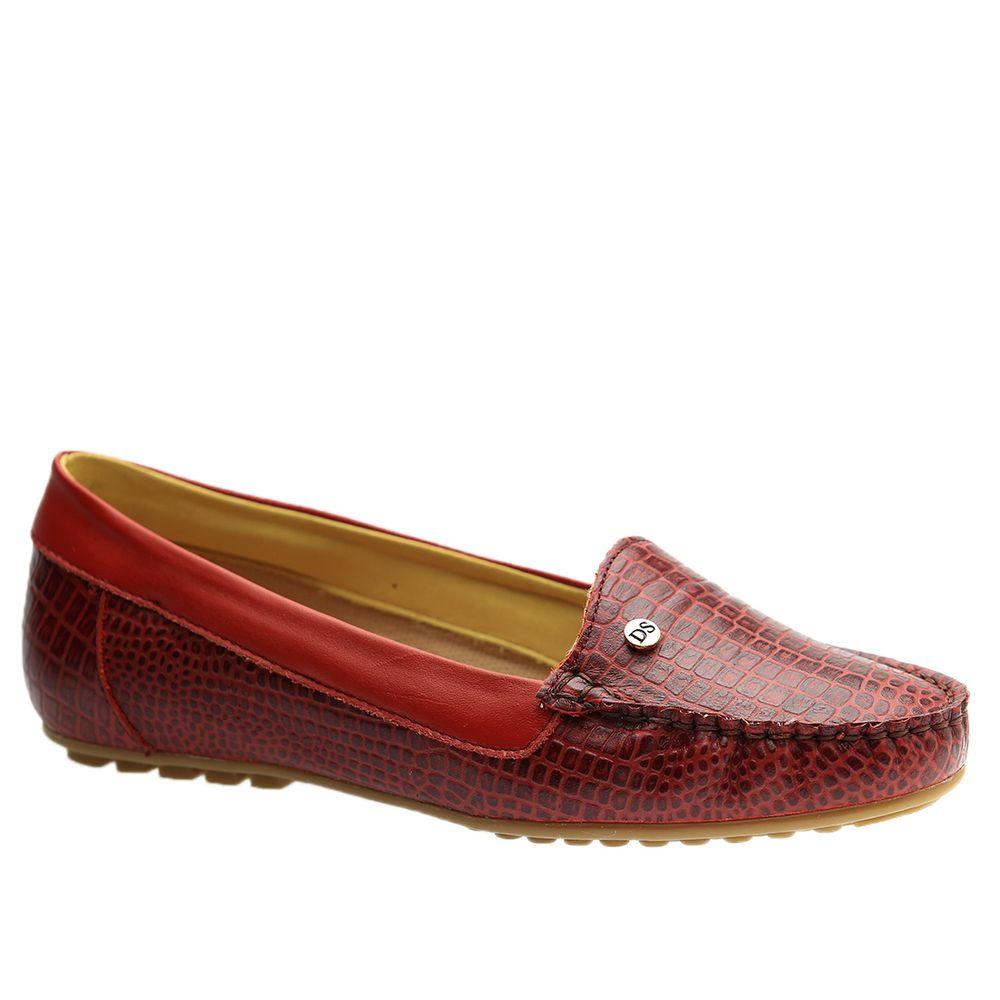 Mocassim-Feminino-em-Couro-Mini-Croco-Vermelho-1185-Doctor-Shoes-Vermelho-35