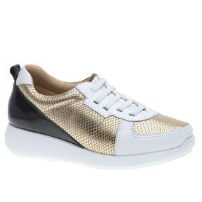 Tenis-Feminino-em-Couro-Roma-Branco-Snake-Metal-Ouro--Elastico--1403--Doctor-Shoes-Branco-35
