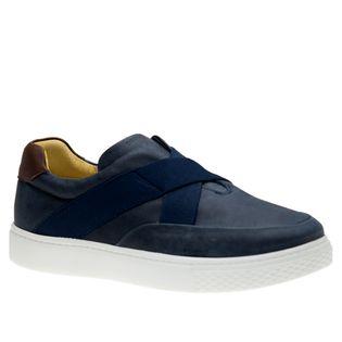 Tenis-Masculino-Slip-On-em-Couro-Graxo-Marinho-Telha-2192--Doctor-Shoes-Marinho-37