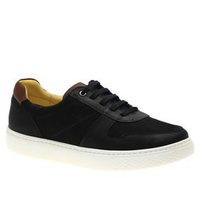 Tenis-Masculino-em-Couro-Graxo-Preto-Nobuck-Preto-Telha-2193-Doctor-Shoes-Preto-37