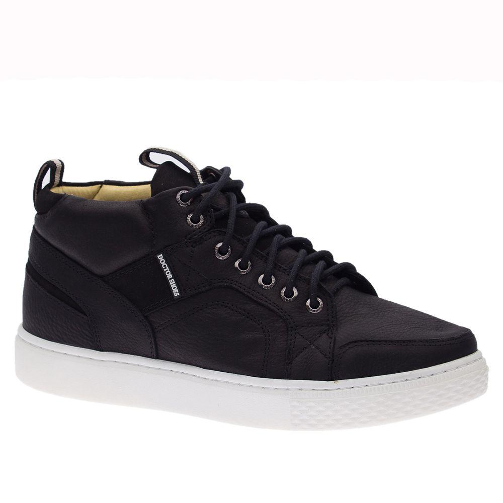 Tenis-Masculino--Linha-UP--em-Couro-Graxo-Preto-Nobuck-Preto-9829--Doctor-Shoes-Preto-38