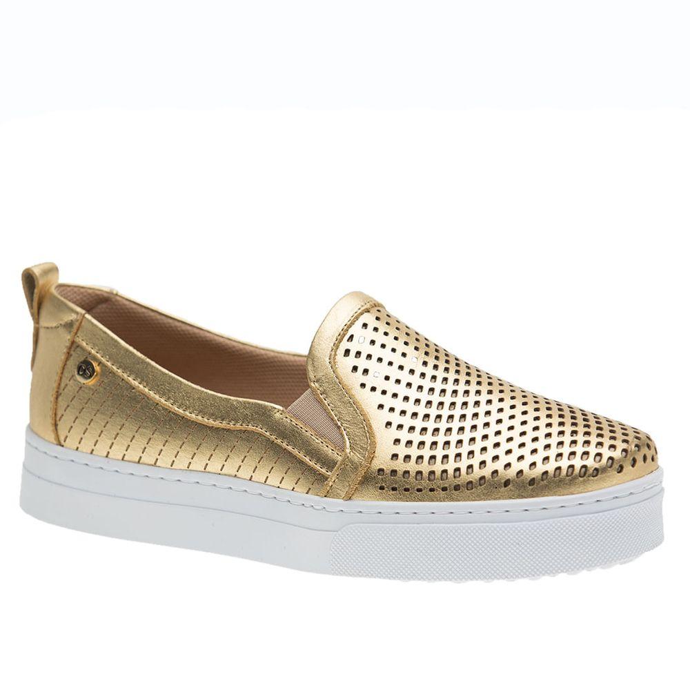 Tenis-Doctor-Shoes-Slip-On-1467-Metalizado-Dourado